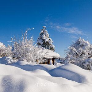 Winterbild mit blauem Himmel und viel Schnee