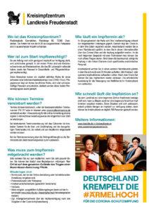 Infoplakat zum Ablauf der Coronaimpfungen im Kreisimpfzentrum Freudenstadt